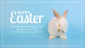 Happy Easter Greeting Card Sweet Bunny Text Digitale Vertoning (16:9) template