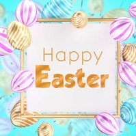 Happy easter greeting card video eggs square Квадрат (1 : 1) template