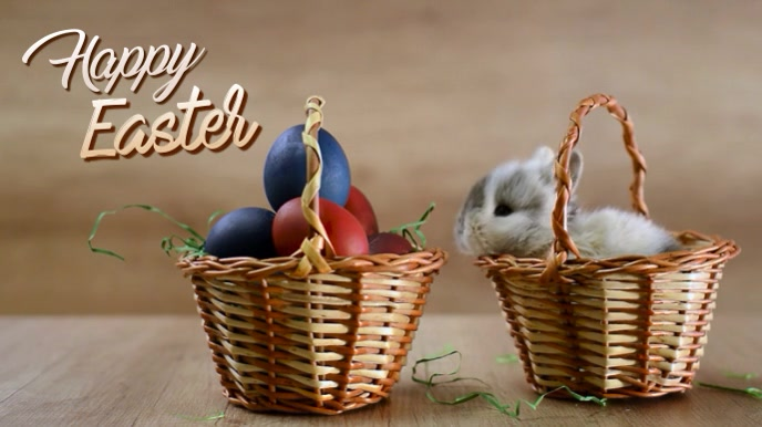 Happy Easter Greeting Card Video Header งานแสดงผลงานแบบดิจิทัล (16:9) template