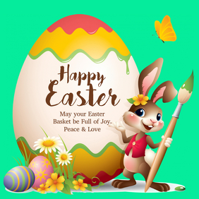 Happy Easter Greeting Card Wishes Egg Bunny Flowers Spring