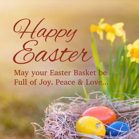 Happy Easter Greeting Card Wishes Egg Lawn Flowers Spring