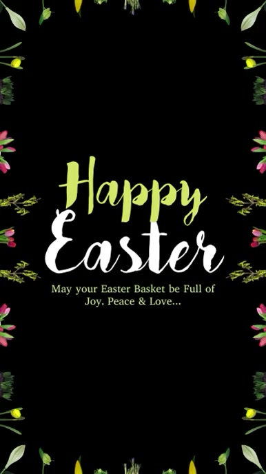 Happy Easter Greeting Card Wishes Eggs Flower Instagram Story template