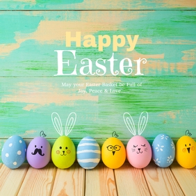 Happy Easter Greeting Card Wishes Eggs Flower Instagram Post template
