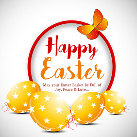 Happy Easter Greeting Card Wishes Eggs Flowers Spring