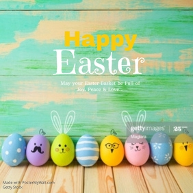 Happy Easter Greeting Card Wishes Eggs Flowers Spring Kids