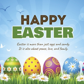 Happy Easter greeting card wishes eggs lawn