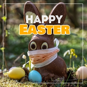 Happy Easter greeting card wishes eggs lawn Instagram Post template