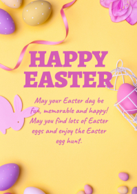 Happy Easter Greeting Card Wishes Text ad A4 template