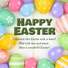 Happy Easter Greeting Card Wishes Text messag Instagram Post template