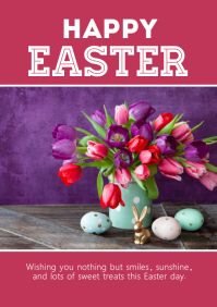 Happy Easter Greeting Flowers eggs decoration