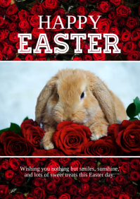 Happy Easter Greeting Flowers roses rabbit