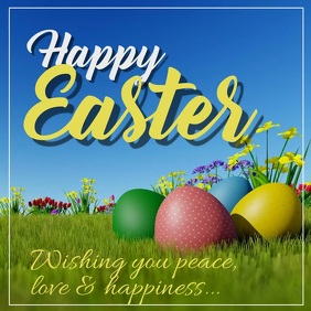 Happy Easter Greeting Video Card Wishes Egg Flowers