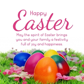 Happy easter greeting wishes card flowers Квадрат (1 : 1) template