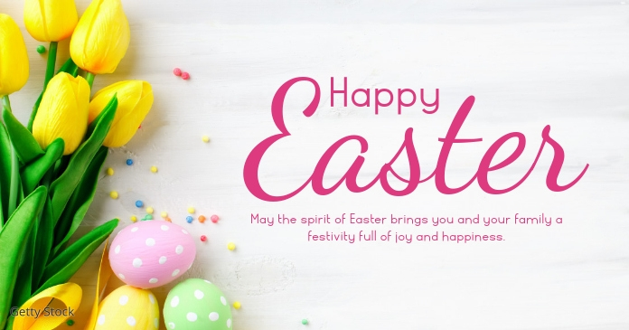 Happy easter greeting wishes card flowers delt Facebook-billede template