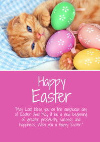 Happy Easter greetings cat wishes family card