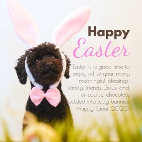 Happy Easter greetings dog wishes family card