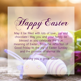 Happy Easter Greetings Message Wishes Text Ad Instagram Post template