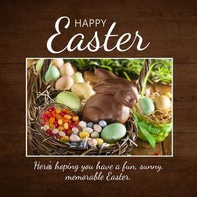 Happy Easter Greetings Wishes chocolate Bunny