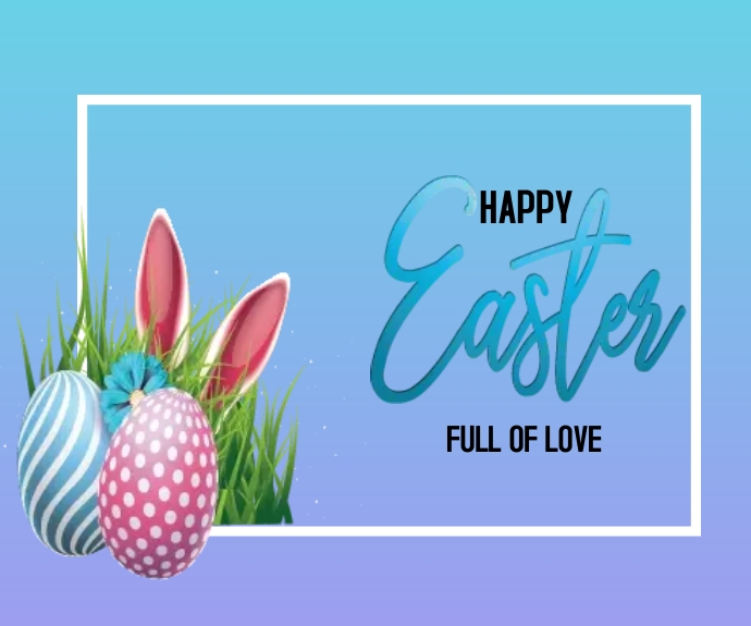 Happy Easter Illustration Medium na Rektangle template