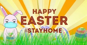Happy Easter message Decoration Blue Wood Facebook Shared Image template