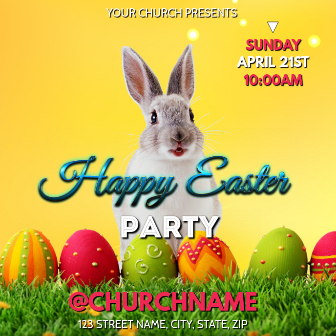 HAPPY EASTER PARTY CHURCH FLYER