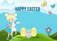 Happy Easter Postcard Cartolina template