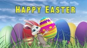 Happy Easter video graphics Affichage numérique (16:9) template
