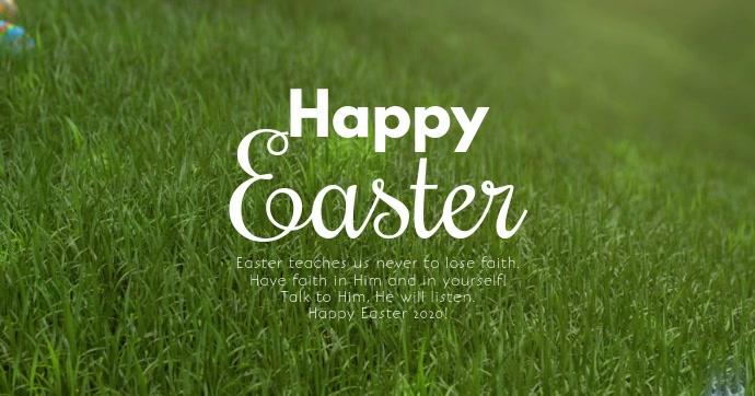 Happy Easter Video Greeting Card eggs Square Immagine condivisa di Facebook template
