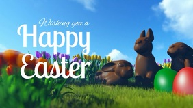 Happy Easter Video Greeting Header Ad Eggs Bunnys