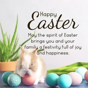 Happy Easter Wishes Bunny Decoration Banner Square (1:1) template