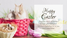 Happy Easter Wishes Bunny Decoration Banner Facebook Cover Video (16:9) template