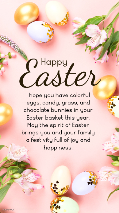 Happy Easter Wishes Eggs Decoration din Instagram Story template