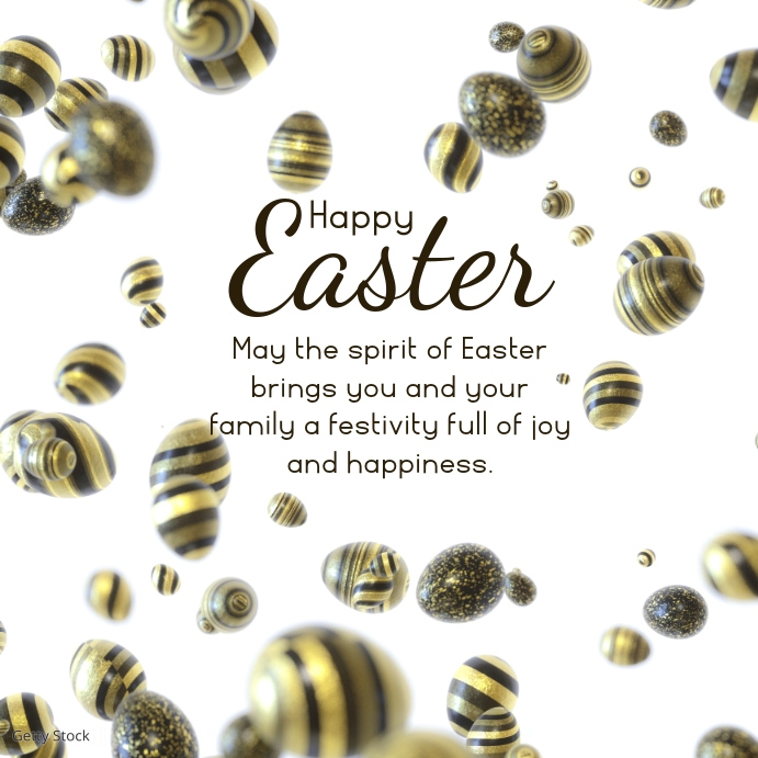 Happy Easter Wishes Gold Decoration Eggs Persegi (1:1) template