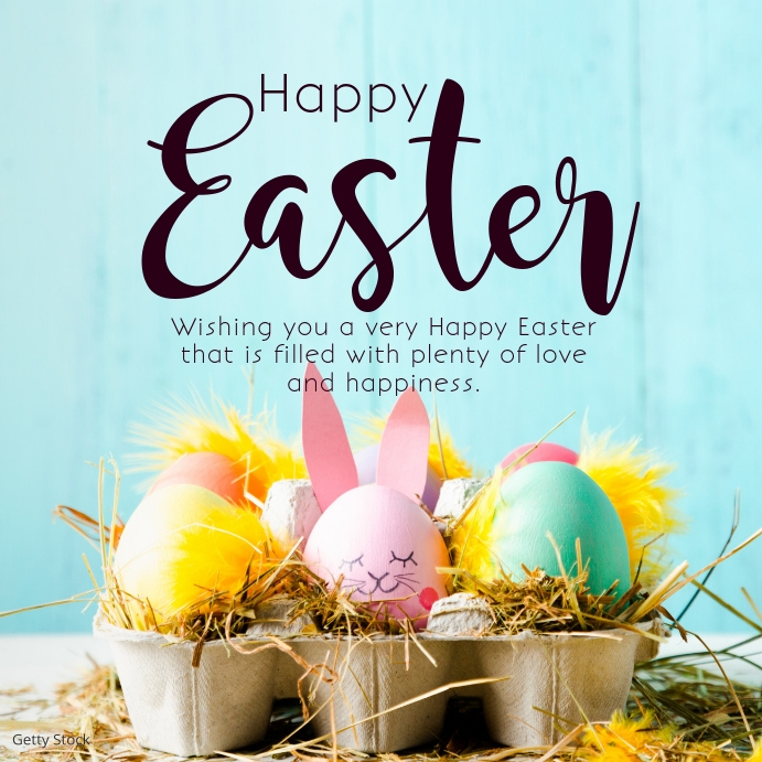 Happy easter Wishes Greetings eggs Square Pos Instagram template