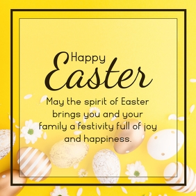 happy easter wishes greetings golden deco Square (1:1) template