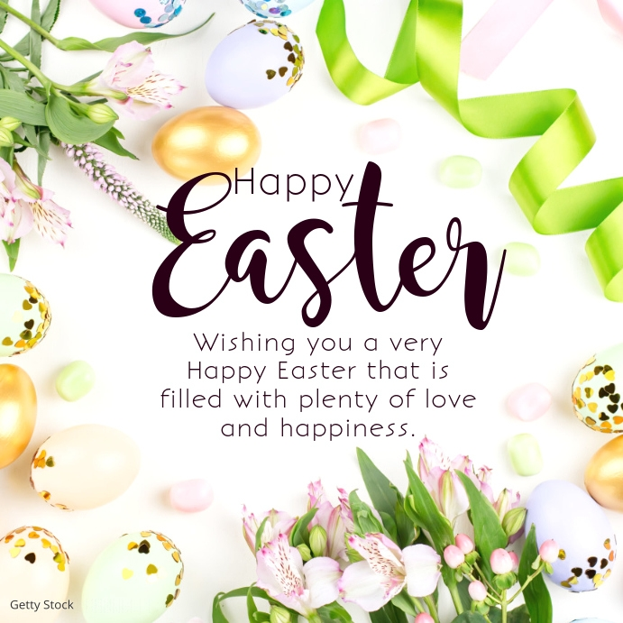 Happy easter Wishes Greetings Video Ad Square Pos Instagram template