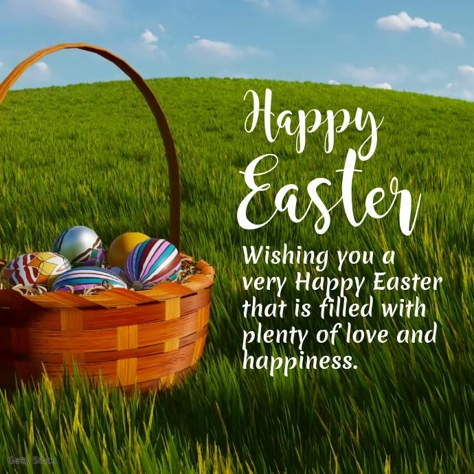 Happy easter Wishes Greetings Video Ad Square Persegi (1:1) template