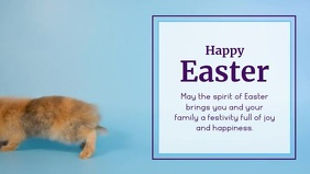 Happy Easter Wishes message Bunny Card Facebook Cover Video (16:9) template