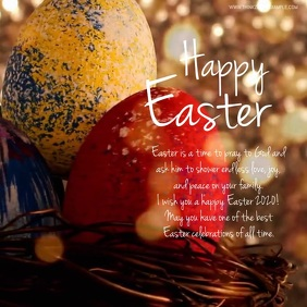 Happy Easter Wishes Message Goals Card Online Square (1:1) template