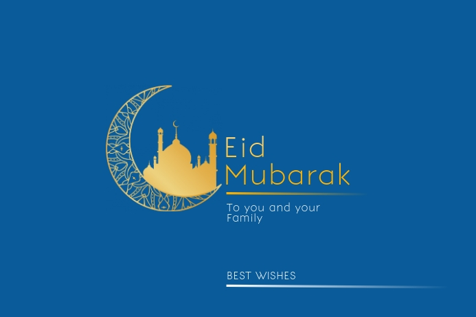 Happy Eid Mubarak Best Wishes Template Plakkaat