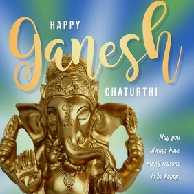 Happy Ganesh Chaturthi Blue Message Square (1:1) template