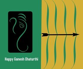 Happy Ganesh Chaturthi Mittelgroßes Rechteck template