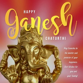 Happy Ganesh Chaturthi Red Message