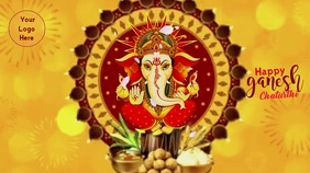 Happy Ganesh Chaturthi wishes Gif With Sound Tampilan Digital (16:9) template