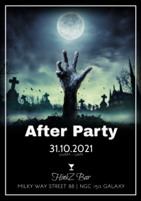 Happy Halloween After Party night event ad A4 template