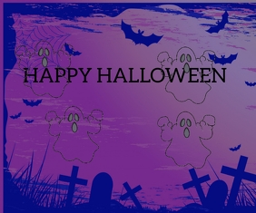 HAPPY HALLOWEEN DAY 1 POSTER TEMPLATE Retângulo grande