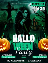 Happy Halloween Party Club Invitation Templat Flyer (US Letter) template
