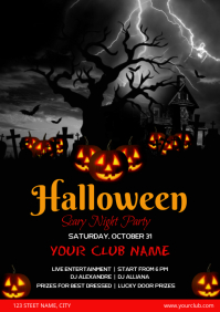 Happy Halloween Party Club Invitation Templat A3 template