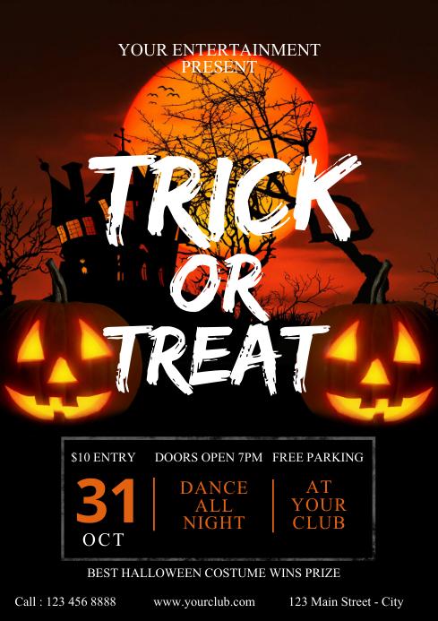 Happy Halloween Party Invitation Template, Ha A4