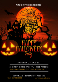 Happy Halloween Party Invitation Template, Ha A4